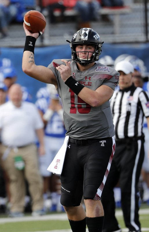 Temple quarterback Anthony Russo (15) passes against Duke during the first half of the Independence Bowl, an NCAA college football game in Shreveport, La. (AP Photo/Rogelio V. Solis)
