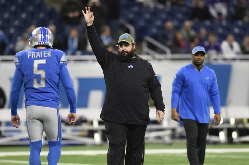 FILE - In this Dec. 23, 2018, file photo, Detroit Lions head coach Matt Patricia gives directions to his team during pregame of an NFL football game in Detroit. (AP Photo/Jose Juarez, File)