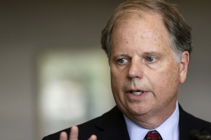 FILE - In this Friday, Sept. 7, 2018, file photo, Sen. Doug Jones, D-Ala., waits to speak at the dedication for the United States Courthouse for the Southern District of Alabama in Mobile, Ala. (AP Photo/Dan Anderson, File)