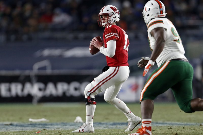 Wisconsin quarterback Jack Coan looks for a receiver during the first half of the Pinstripe Bowl NCAA college football game against Miami on Thursday, Dec. (AP Photo/Adam Hunger)
