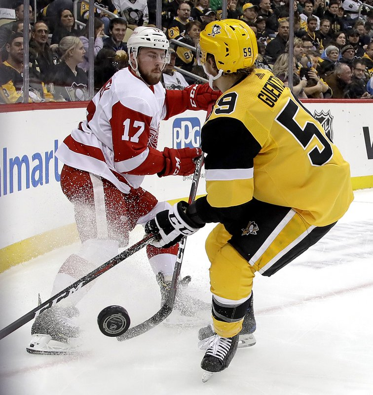 Detroit Red Wings' Filip Hronek (17) clears the puck before Pittsburgh Penguins' Jake Guentzel (59) can get his stick on it during the second period of an NHL hockey game in Pittsburgh, Thursday, Dec. (AP Photo/Gene J. Puskar)