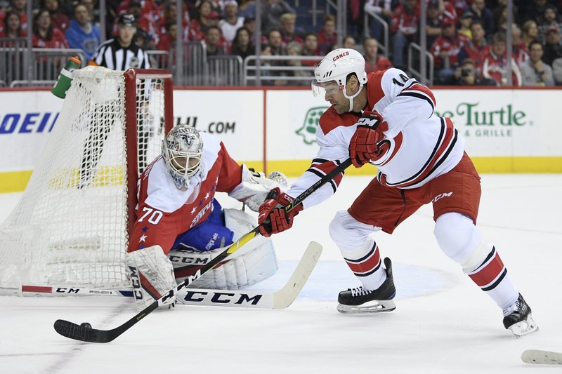 Carolina Hurricanes right wing Justin Williams (14) skates with the puck against Washington Capitals goaltender Braden Holtby (70) during the first period of an NHL hockey game, Thursday, Dec. (AP Photo/Nick Wass)