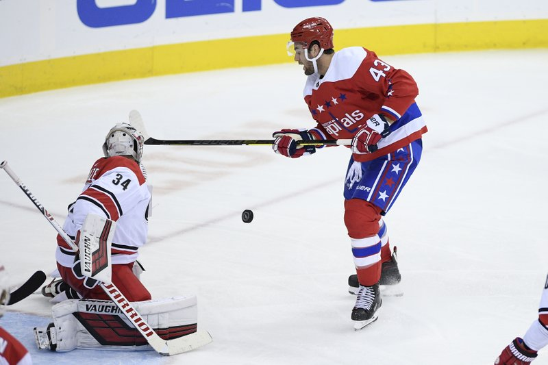 Washington Capitals right wing Tom Wilson (43) battles for the puck against Carolina Hurricanes goaltender Petr Mrazek (34) during the third period of an NHL hockey game, Thursday, Dec. (AP Photo/Nick Wass)