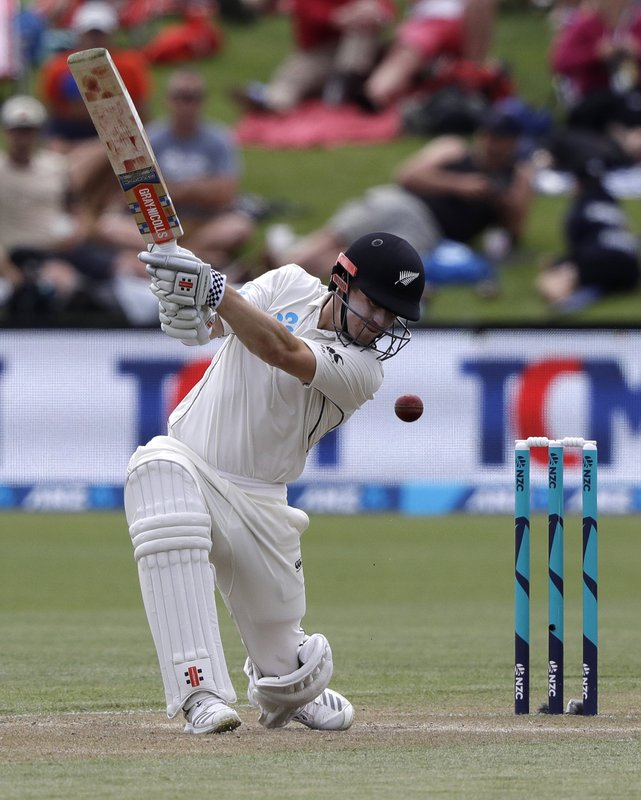 New Zealand's Henry Nicholls bats during play on day three of the second cricket test between New Zealand and Sri Lanka at Hagley Oval in Christchurch, New Zealand, Friday, Dec. (AP Photo/Mark Baker)