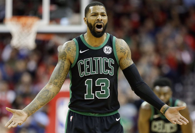 Boston Celtics forward Marcus Morris reacts after being called for his second technical foul of an NBA basketball game, resulting in his ejection, during the second half against the Houston Rockets, Thursday, Dec. (AP Photo/Eric Christian Smith)