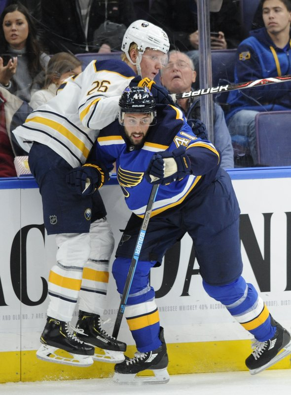 Buffalo Sabres' Rasmus Dahlin (26), of Sweden, is checked by St. Louis Blues' Robert Bortuzzo (41) during the first period of an NHL hockey game, Thursday, Dec. (AP Photo/Bill Boyce)