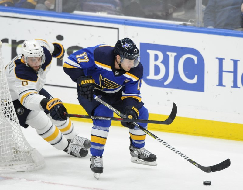 St. Louis Blues' Jaden Schwartz (17) gets the puck around Buffalo Sabres' Marco Scandella (6) during the second period of an NHL hockey game, Thursday, Dec. (AP Photo/Bill Boyce)