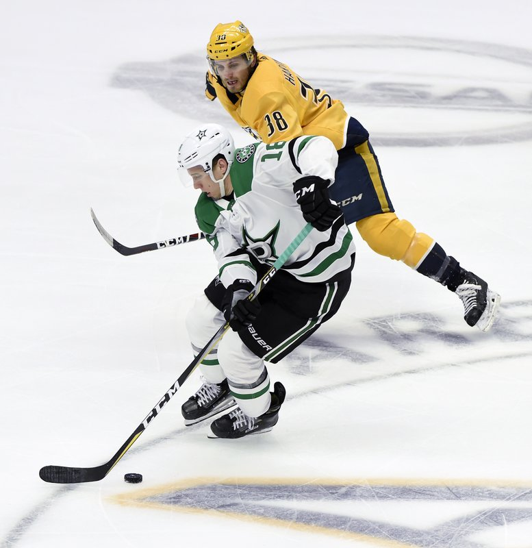 Dallas Stars center Tyler Pitlick (18) moves the puck past Nashville Predators right wing Ryan Hartman (38) during the first period of an NHL hockey game Thursday, Dec. (AP Photo/Mark Zaleski)