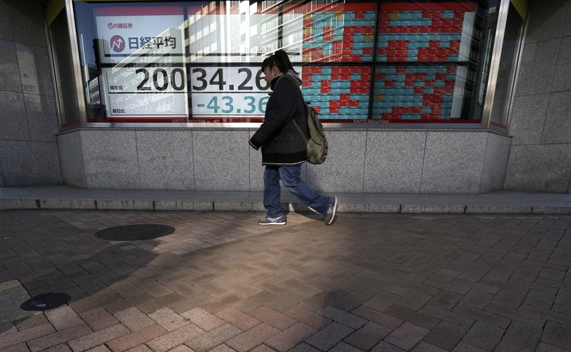 A woman walks past an electronic stock board showing Japan's Nikkei 225 index at a securities firm in Tokyo Friday, Dec. (AP Photo/Eugene Hoshiko)