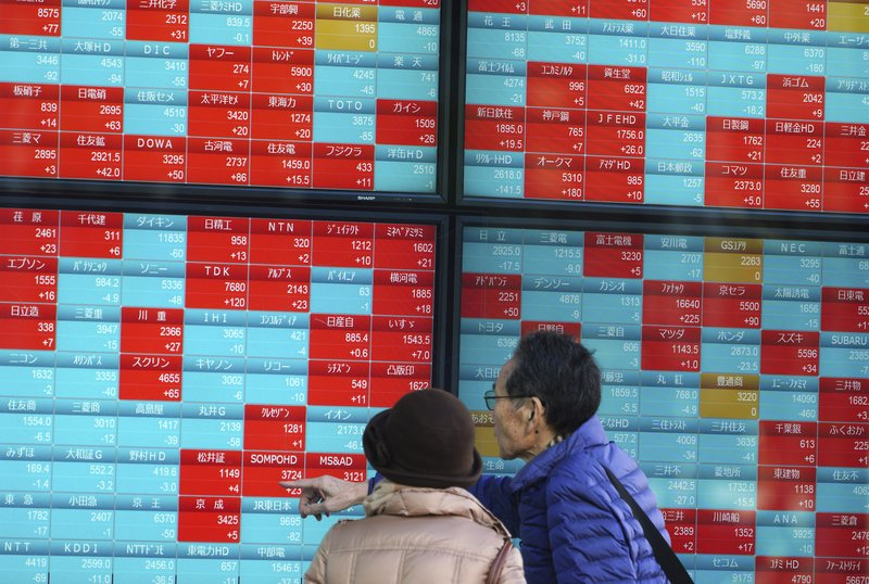 A man and a woman look at an electronic stock board showing Japan's Nikkei 225 index at a securities firm in Tokyo Friday, Dec. (AP Photo/Eugene Hoshiko)