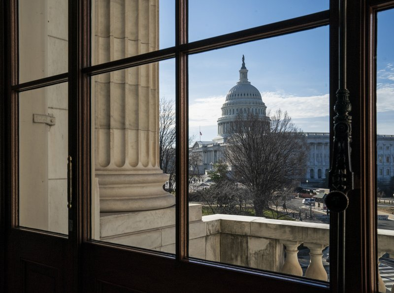 The Capitol Dome is seen from the Russell Senate Office Building in Washington, Thursday, Dec. 27, 2018, during a partial government shutdown. (AP Photo/J. Scott Applewhite)
