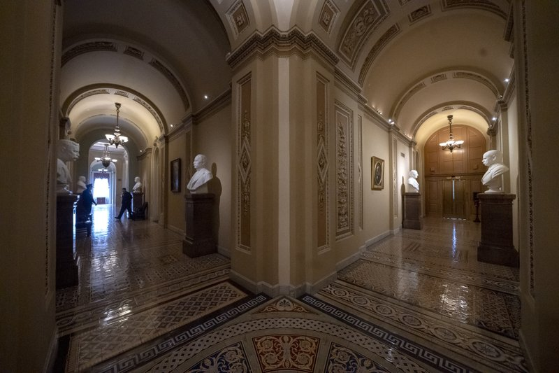 Empty corridors around the Senate are seen at the Capitol in Washington, Thursday, Dec. 27, 2018, during a partial government shutdown. (AP Photo/J. Scott Applewhite)