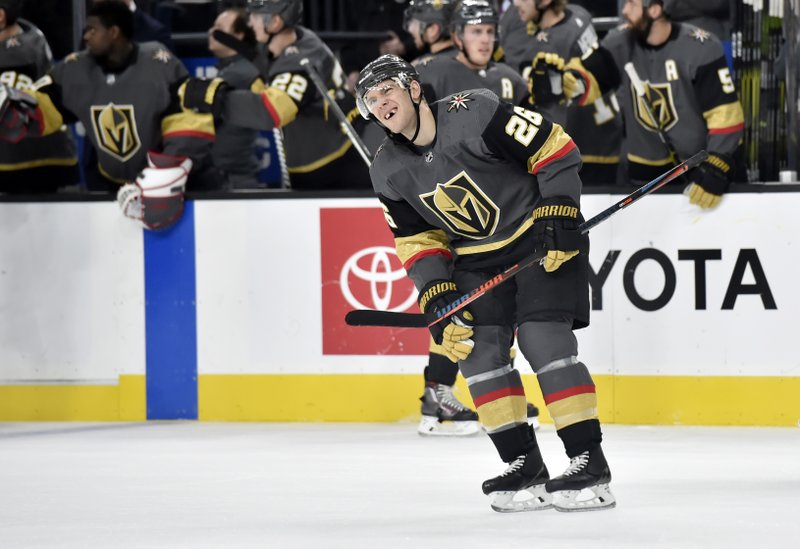 Vegas Golden Knights center Paul Stastny (26) reacts after scoring against the Colorado Avalanche during the first period of an NHL hockey game Thursday, Dec. (AP Photo/David Becker)