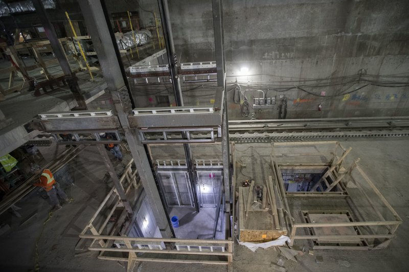 In this Nov. 29, 2018 photo, an elevator shaft takes shape on the track level of the East Side Access project beneath Grand Central Terminal in New York. (AP Photo/Mary Altaffer)