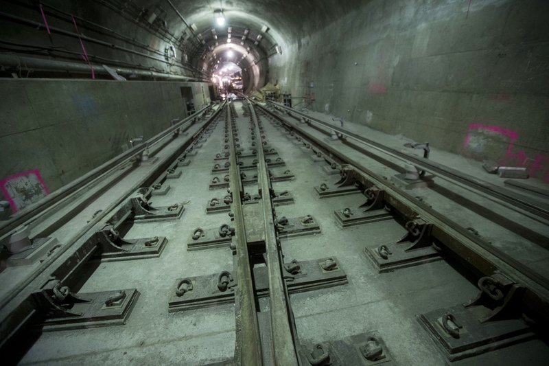 In this Nov. 29, 2018 photo, tracks converge in the East Side Access project beneath Grand Central Terminal in New York. (AP Photo/Mary Altaffer)