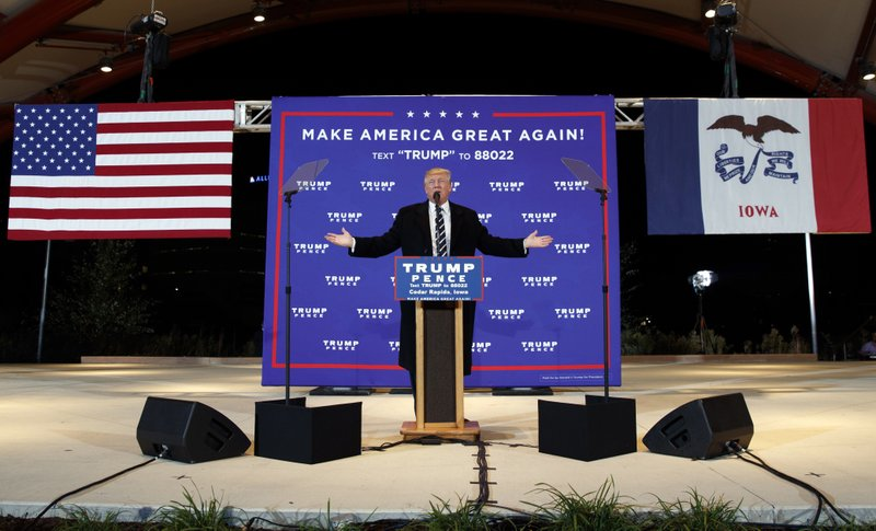 FILE - In this Oct. 28, 2016, file photo, then-Republican presidential candidate Donald Trump speaks during a campaign rally in Cedar Rapids, Iowa. (AP Photo/ Evan Vucci, File)
