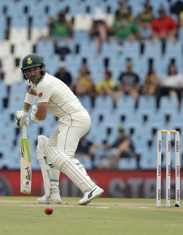 South Africa's batsman Dean Elgar watches his shot on day three of the first cricket test match between South Africa and Pakistan at Centurion Park in Pretoria, South Africa, Friday, Dec. (AP Photo/Themba Hadebe)