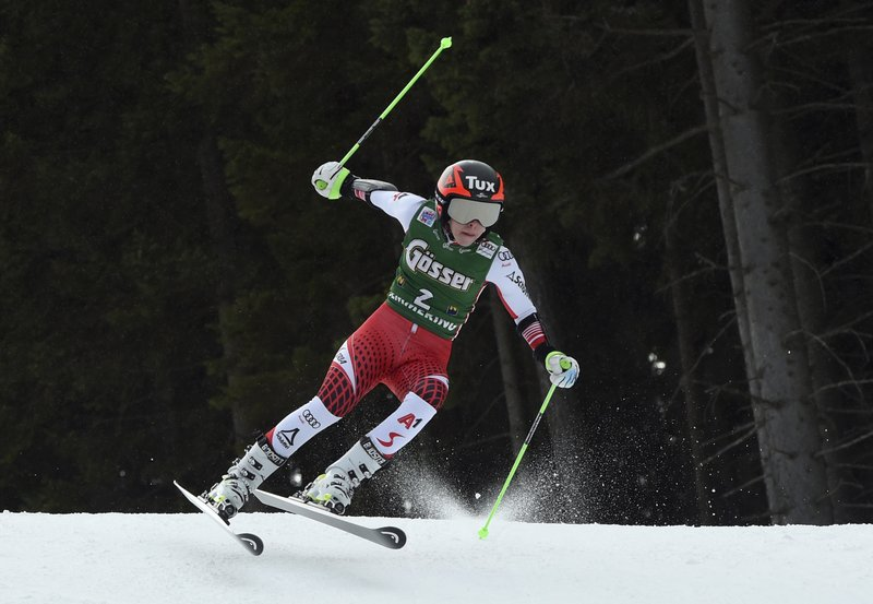 Austria's Stephanie Brunner speeds down the course during an alpine ski, women's World Cup giant slalom in Semmering, Austria, Friday, Dec. (AP Photo/Marco Tacca)