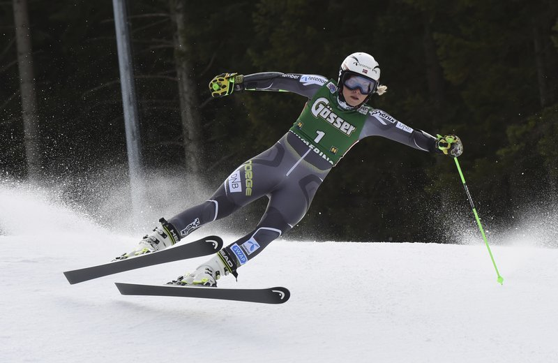 Norway's Ragnhild Mowinckel speeds down the course during an alpine ski, women's World Cup giant slalom in Semmering, Austria, Friday, Dec. (AP Photo/Marco Tacca)