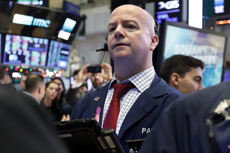 Trader Patrick Casey works on the floor of the New York Stock Exchange, Friday, Dec. 28, 2018. Stocks are opening higher Friday as U. (AP Photo/Richard Drew)