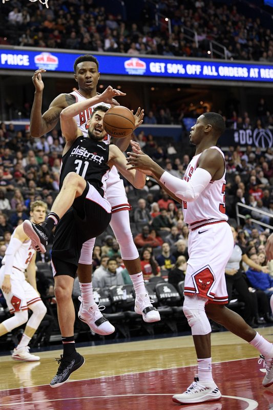 Washington Wizards guard Tomas Satoransky (31), of the Czech Republic, loses the ball against Chicago Bulls forward Wendell Carter Jr. (AP Photo/Nick Wass)