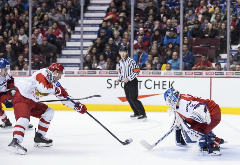 Russia's Nikolai Kovalenko, left, scores against Czech Republic goalie Lukas Dostal during the second period of a world junior hockey championships game in Vancouver, British Columbia, Friday, Dec. (Darryl Dyck/The Canadian Press via AP)