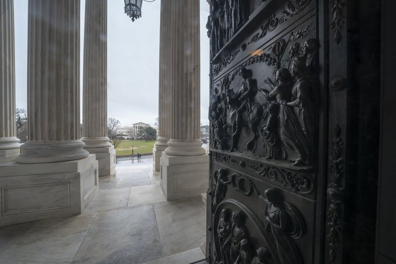 The ornate doors to the Senate are seen at the Capitol in Washington, Friday, Dec. 28, 2018, during a partial government shutdown. (AP Photo/J. Scott Applewhite)