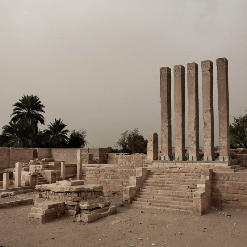 This July 30, 2018 photo shows the ancient Bilqis Temple (Sanctuary of the Queen of Sheeba), in Marib, Yemen. (AP Photo/Nariman El-Mofty)