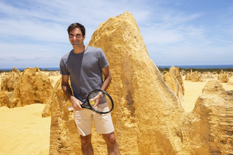 Swiss tennis player Roger Federer poses for a photograph during a media event at the Pinnacles in Nambung National Park, Western Australia Thursday, Dec. (Richard Wainwright/AAP Image via AP)