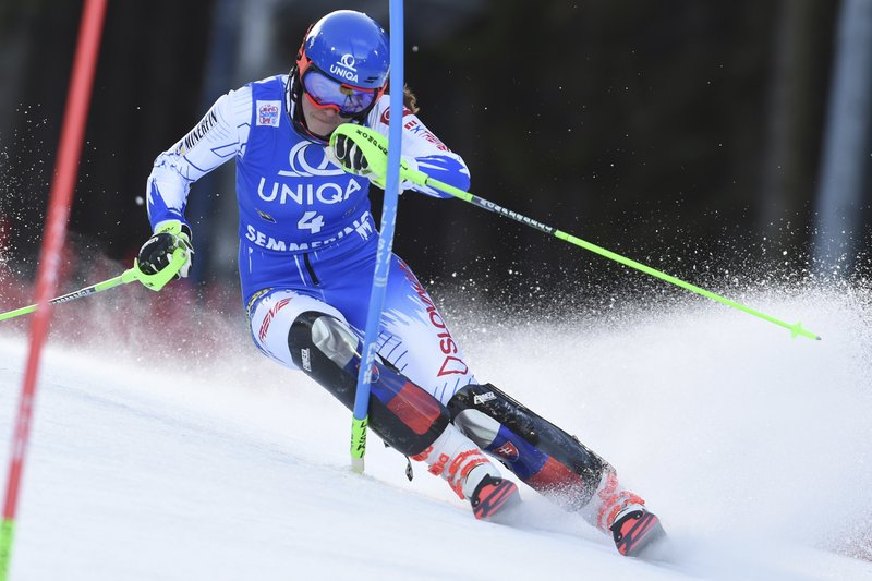 Slovakia's Petra Vlhova competes during the first run of an Alpine ski, women's World Cup slalom in Semmering, Austria, Saturday, Dec. (AP Photo/Marco Tacca)