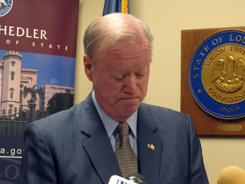 FILE - In this March 14, 2018, file photo, Louisiana Secretary of State Tom Schedler, accused in a lawsuit of sexually harassing one of his employees, speaks at a press conference, in Baton Rouge, La. (AP Photo/Melinda Deslatte, File)