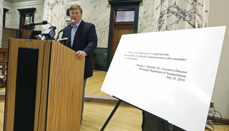 HFS - File - In this July 26, 2018 file photo, Mississippi Lt. Gov. Tate Reeves informs reporters about his response to Attorney General Jim Hood's informal document requests regarding a frontage road project in Rankin County, during a news conference at the Capitol in Jackson, Miss. (AP Photo/Rogelio V. Solis, File)