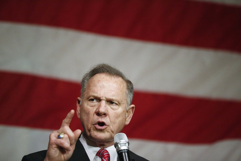 FILE - In this Dec. 5, 2017, file photo, former Alabama Chief Justice and U.S. Senate candidate Roy Moore speaks at a campaign rally, in Fairhope Ala. (AP Photo/Brynn Anderson, File)