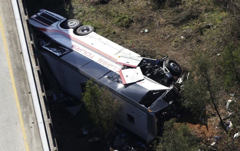 FILE - In this March 13, 2018, file photo, a charter bus sits in a ravine after a deadly crash, in Loxley, Ala. (AP Photo/Dan Anderson, File)