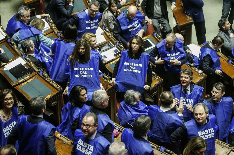 Forza Italia party's lawmakers protest wearing blue vest reading