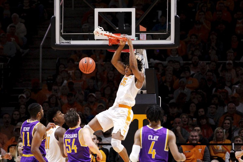 Tennessee Yves Pons (35) dunks the ball against Tennessee Tech in the second half of an NCAA college basketball game Saturday, Dec. (AP Photo/Shawn Millsaps)