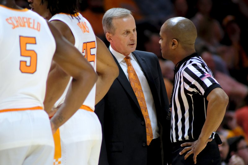 Tennessee head coach Rick Barnes speaks with officials during a timeout against Tennessee Tech in the second half of an NCAA college basketball game Saturday, Dec. (AP Photo/Shawn Millsaps)