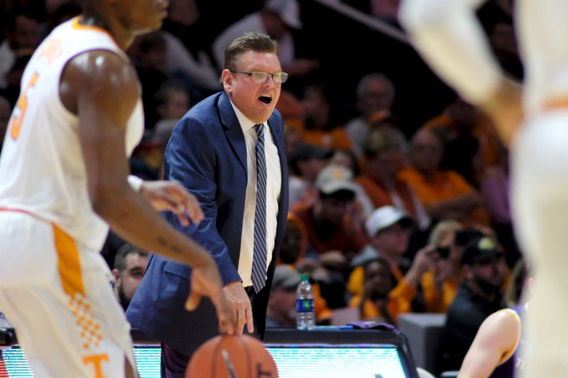 Tennessee Tech head coach Steve Payne yells to his players as Tennessee brings the ball down court in the first half of an NCAA college basketball game Saturday, Dec. (AP Photo/Shawn Millsaps)
