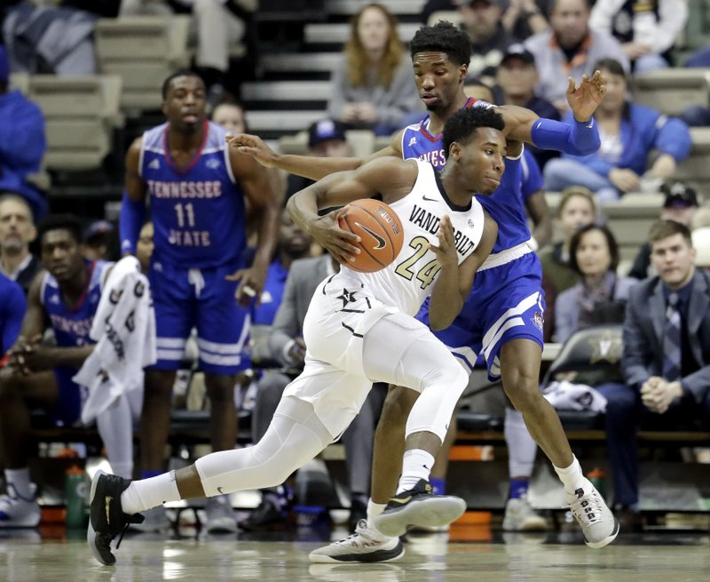 Vanderbilt forward Aaron Nesmith (24) drives against Tennessee State guard Donte Fitzpatrick-Dorsey in the first half of an NCAA college basketball game Saturday, Dec. (AP Photo/Mark Humphrey)