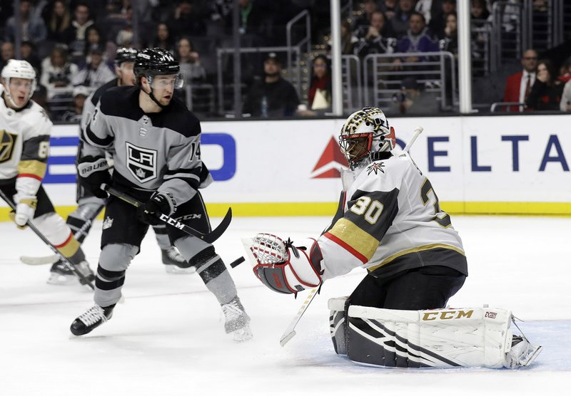 Vegas Golden Knights goaltender Malcolm Subban (30) stops a shot against the Los Angeles Kings during the second period of an NHL hockey game Saturday, Dec. (AP Photo/Marcio Jose Sanchez)