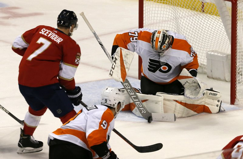 Philadelphia Flyers goaltender Carter Hart (79) makes a save in front of Florida Panthers center Colton Sceviour (7) in the second period of an NHL hockey game, Saturday Dec. (AP Photo/Joe Skipper)