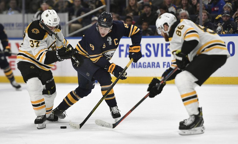 Buffalo Sabres center Jack Eichel, center, battles for the puck against Boston Bruins center Patrice Bergeron (37) and defenseman Kevan Miller (86) during the second period of an NHL hockey game in Buffalo, N. (AP Photo/Adrian Kraus)