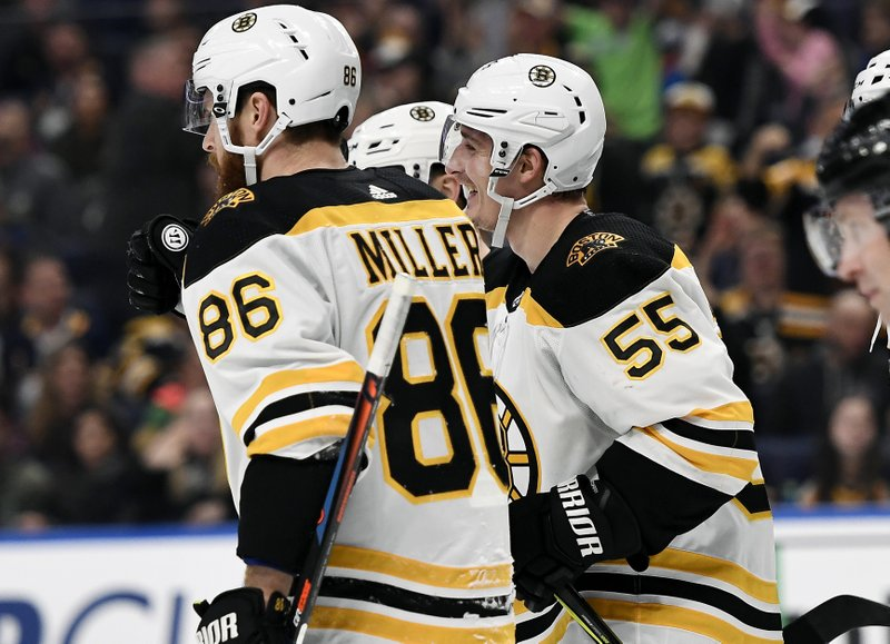 Boston Bruins center Noel Acciari (55) celebrates his goal with defenseman Kevan Miller (86) during the first period of an NHL hockey game against the Buffalo Sabres in Buffalo, N. (AP Photo/Adrian Kraus)