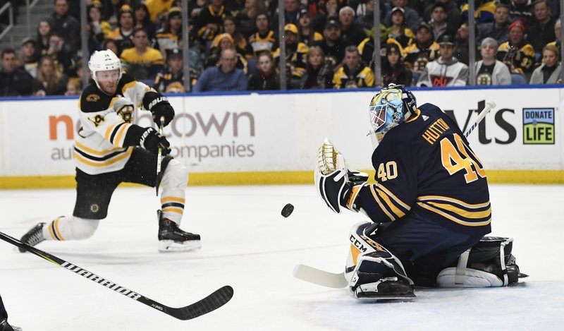 Buffalo Sabres goalie Carter Hutton (40) deflects a shot by Boston Bruins right wing Chris Wagner during the first period of an NHL hockey game in Buffalo, N. (AP Photo/Adrian Kraus)