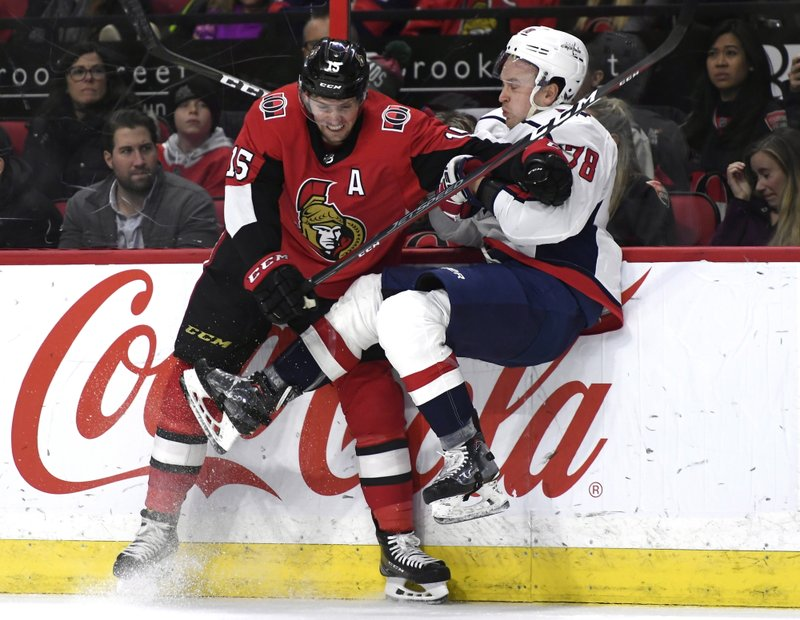 Ottawa Senators left wing Zack Smith (15) collides with Washington Capitals defenseman Tyler Lewington (78) during the second period of an NHL hockey game, Saturday, Dec. (Justin Tang/The Canadian Press via AP)