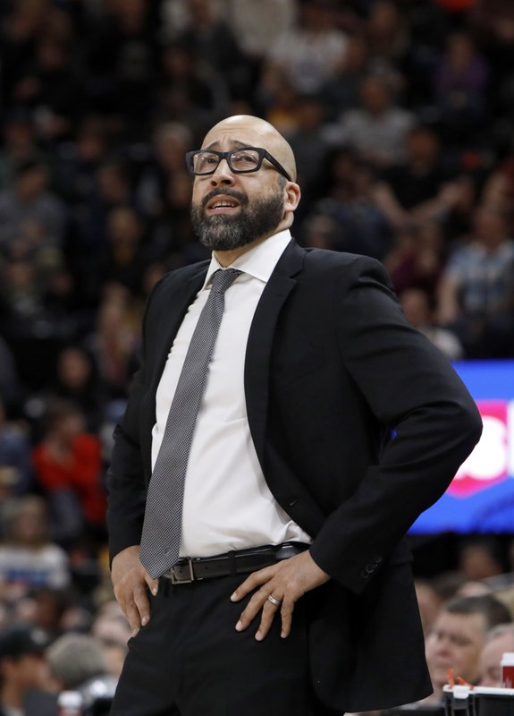 New York Knicks' head coach David Fizdale reacts to his team trailing the Utah Jazz in the first half of an NBA basketball game on Saturday, Dec. (AP Photo/Kim Raff)