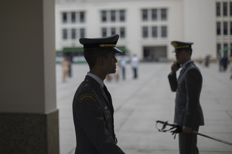 In this Dec. 1, 2018 photo, Brazilian Army cadet Gustavo Oliveira stands at the presentation court after his graduation ceremony at the Agulhas Negras Military Academy in Resende, Brazil. (Jair Bolsonaro) came through here means that I can also aspire to a much higher place because the army gives us that opportunity.
