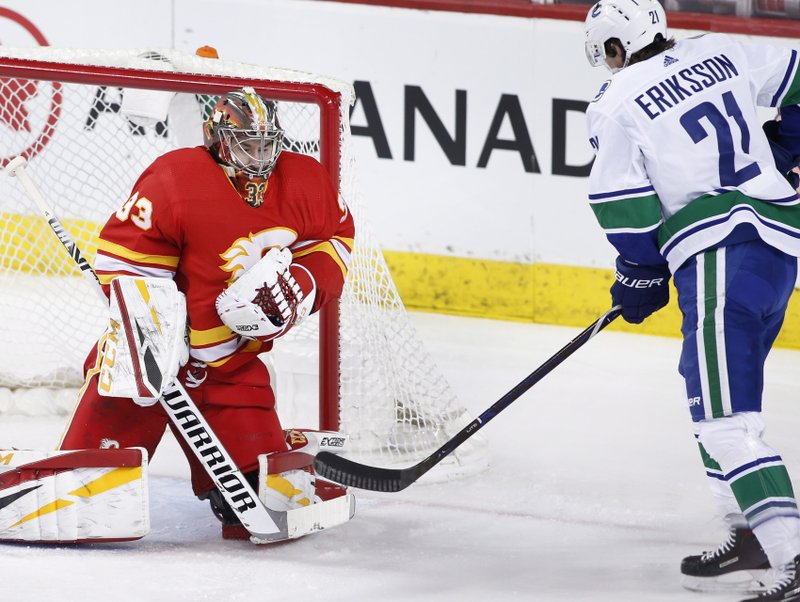 Calgary Flames goalie David Rittich, from the Czech Republic, makes a save against Vancouver Canucks' Loui Eriksson, from Sweden, during the first period of an NHL hockey game Saturday, Dec. (Larry MacDougal/The Canadian Press via AP)