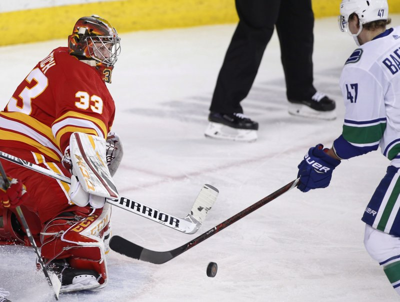 Calgary Flames goalie David Rittich, from the Czech Republic, makes a save as Vancouver Canucks' Sven Baertschi, from Switzerland, looks for a rebound during the second period of an NHL hockey game Saturday, Dec. (Larry MacDougal/The Canadian Press via AP)