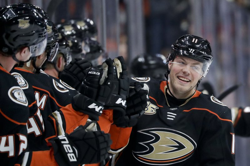Anaheim Ducks right wing Daniel Sprong celebrates after scoring during the first period of an NHL hockey game against the Arizona Coyotes in Anaheim, Calif. (AP Photo/Chris Carlson)